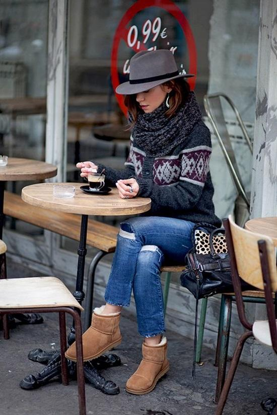 17. Patterned Cardigan With Denim, Grey Crochet Scarf, Hat And Ugg Booties