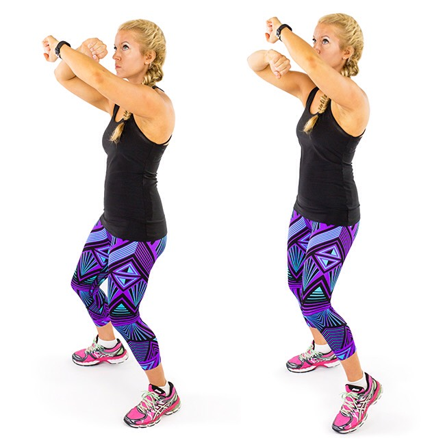 4. Speed Bag Punches:Get that heart rate back upbefore moving into the next muscle-sculpting movement with speed bag punches. Perform it for one minute, grab a quick drink of water and move right on to thenext shaping exercise.Click here for more details.