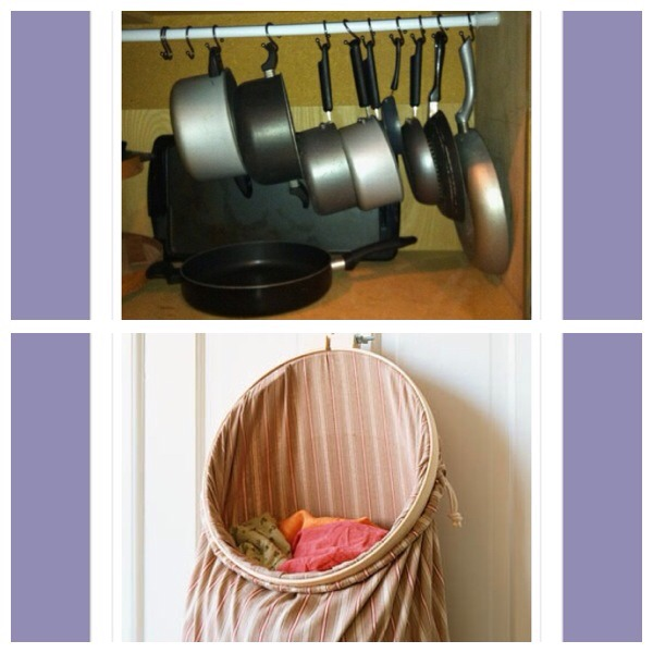 35. Use a tension rod and shower hooks to store saucepans inside a cupboard 36. Make a simple laundry hamper by using an old pillowcase and an old embroidery hoop