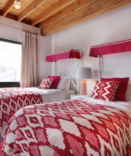 Bold & Bright A modern way to do pink: Try fuchsia and red in a stunning ikat print.
