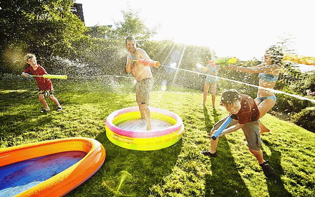 WATER FIGHT! Get your water guns, hoses, and sprinklers.