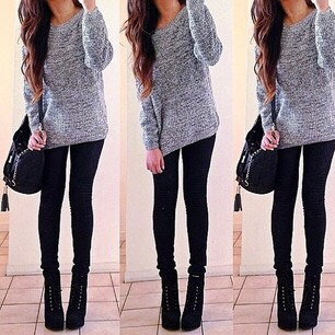 -Gray knit sweater -Black jeans -paired with black boots