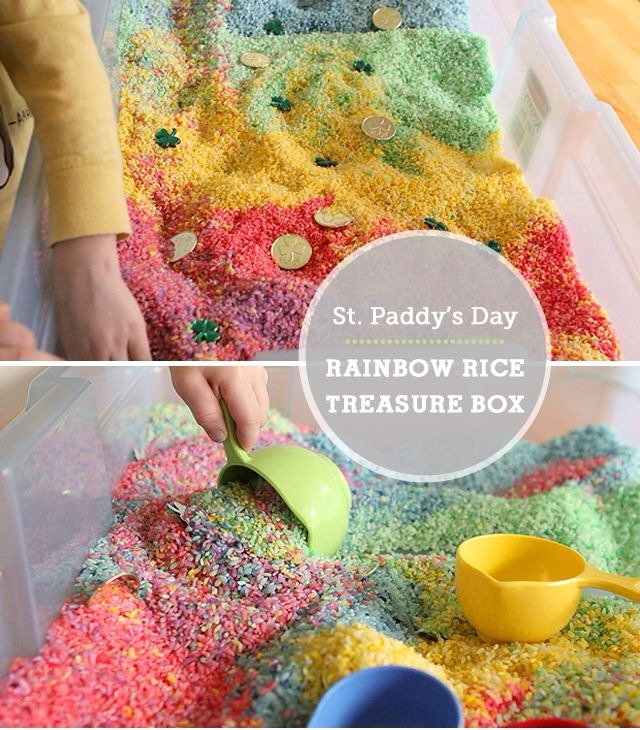 Rainbow colored rice, gold coin chocolates, four leaf clovers