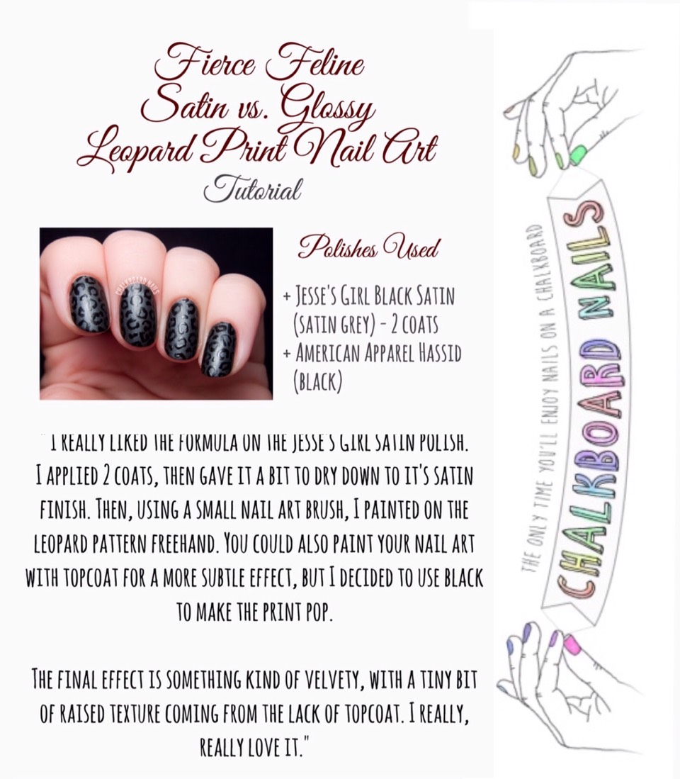 To view Chalkboard Nails' Tutorial on how to accomplish this look, VISIT | http://www.chalkboardnails.com/2014/08/fierce-feline-satin-vs-glossy-leopard-print.html?m=1#more