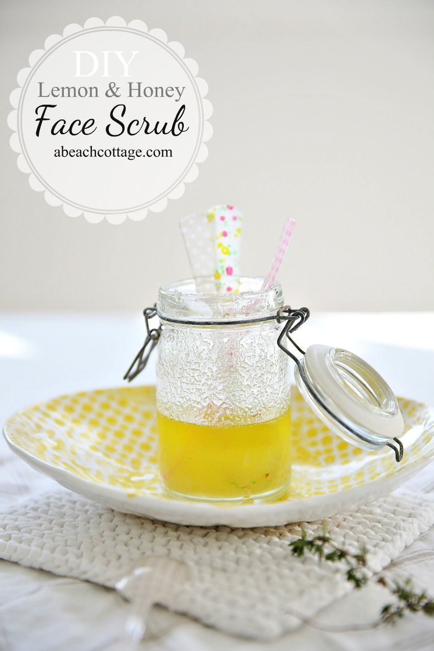 1 tbsp fine granulated sugar     2 tbsp honey     1 tsp lavender oil  2 tbsp lemon juice. Mix together in a small bowl and apply to face and neck. Let sit for 30 mins and rinse!