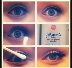 Add baby powder as well making sure you got it all over your eyelashes.