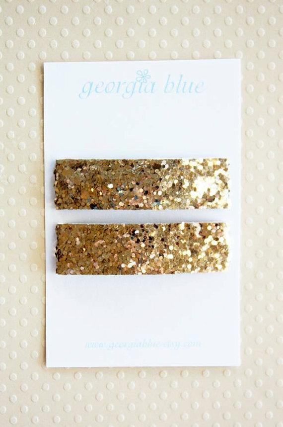 Glitter Gold Snap Clips