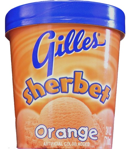 A tub of orange sherbet.