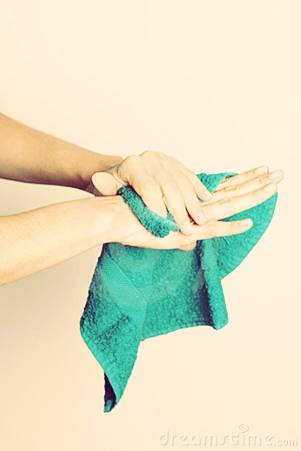 Take your hands out and dry your hands with a towel !