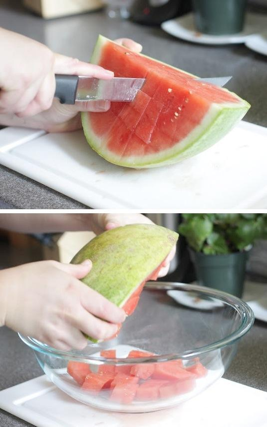 how to cut up a watermelon fast