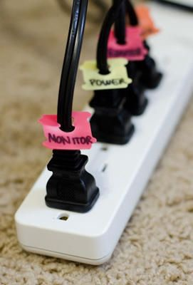 Use those little plastic bread closure things (do they even have a real name?) and label the different cords!