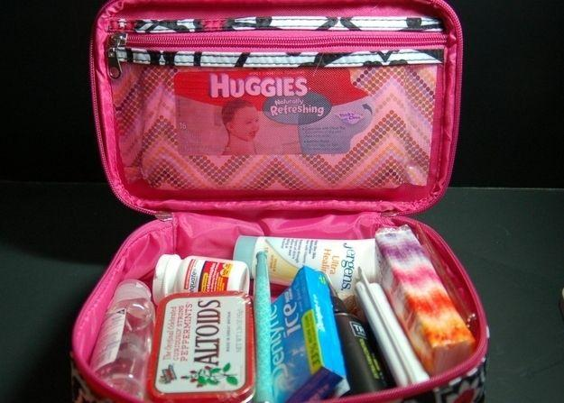 use a little make up bag to pack travel size wipes hand sanitizer tissues medications gum and mints in so it won't take much room in your suticase