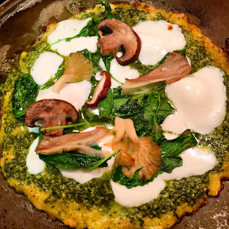 This is my Basil Pesto pizza, but you can make whatever pizza you want. I provide you the base of the pizza recipe as well!
