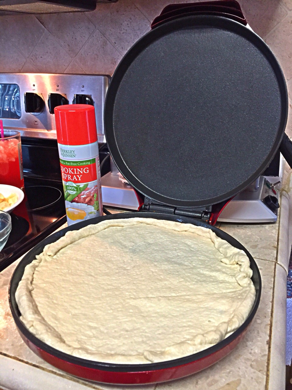 Par bake the pizza dough.