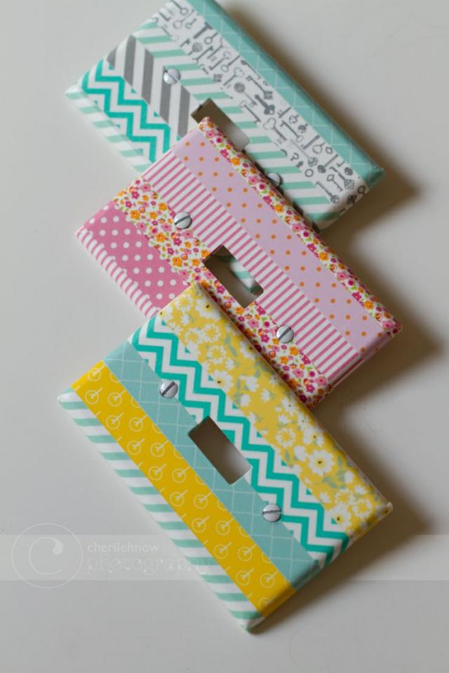 use washi tape on your light switch to add a fun and festive color and design to your room