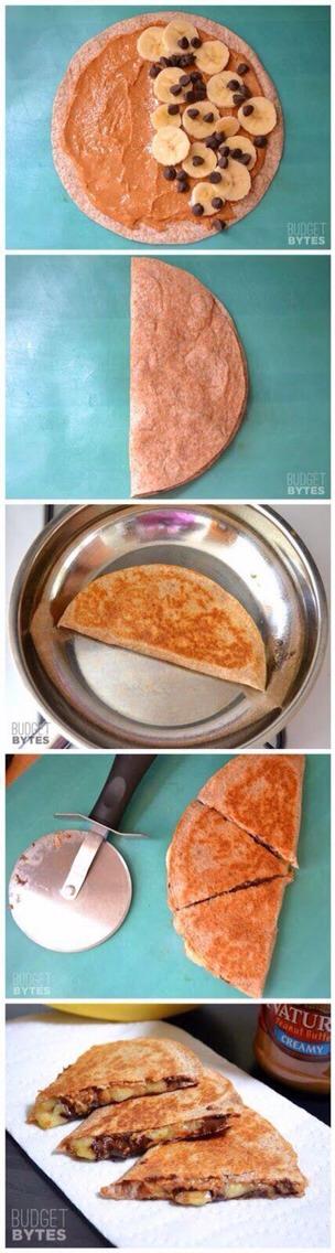 Add chocolate chips if you like. Use pan at medium heat.