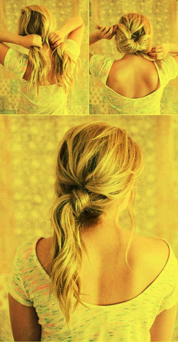 23. The messy knot hairdo will take your ponytail to the next level.    Just split, knot, and then hold it in place with a bobby pin.