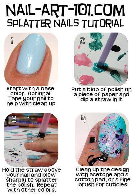 Well the tutorial is in the picture but use a straw to splatter the polish into different places!