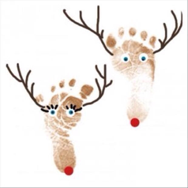 Just use child friendly washable paint on the bottom of your baby's feet, add a red nose, antlers and a some fun eyes!
