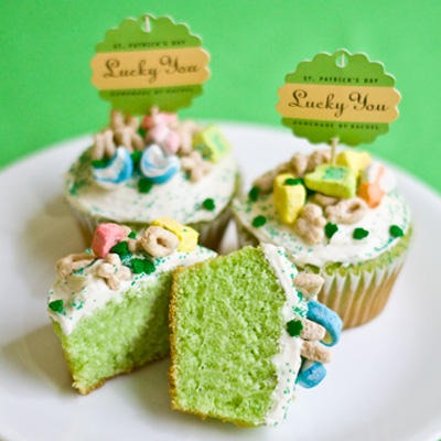 Top your cupcakes off with some lucky charms for st.patricks day themed event or party! You can alternate between green cupcakes and green frosting.