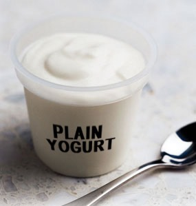 Eat plain, unsweetened yogurt. Eat as much as 2 cups a day.