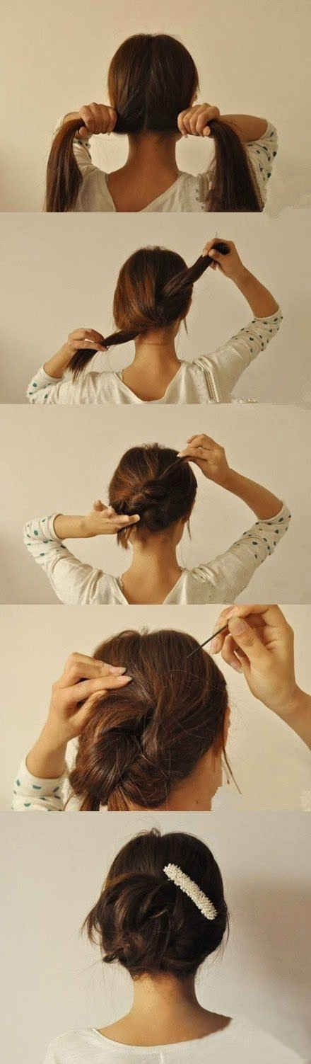 Split, knot, twist and pin, EASY! I do this one all the time! 😊👍💗
