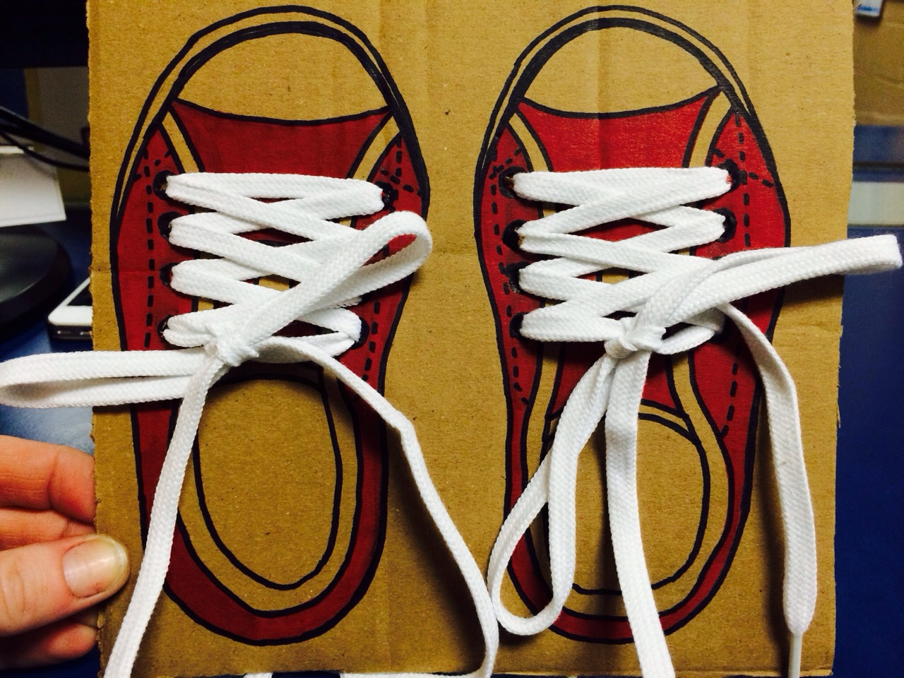 Cardboard, shoe laces and a sharpie.