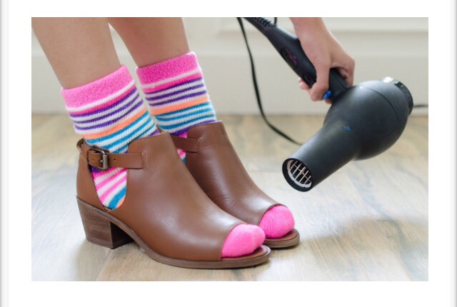 1. Stretch a pair of tight shoes by wearing thick shocks & blow drying the tight area.