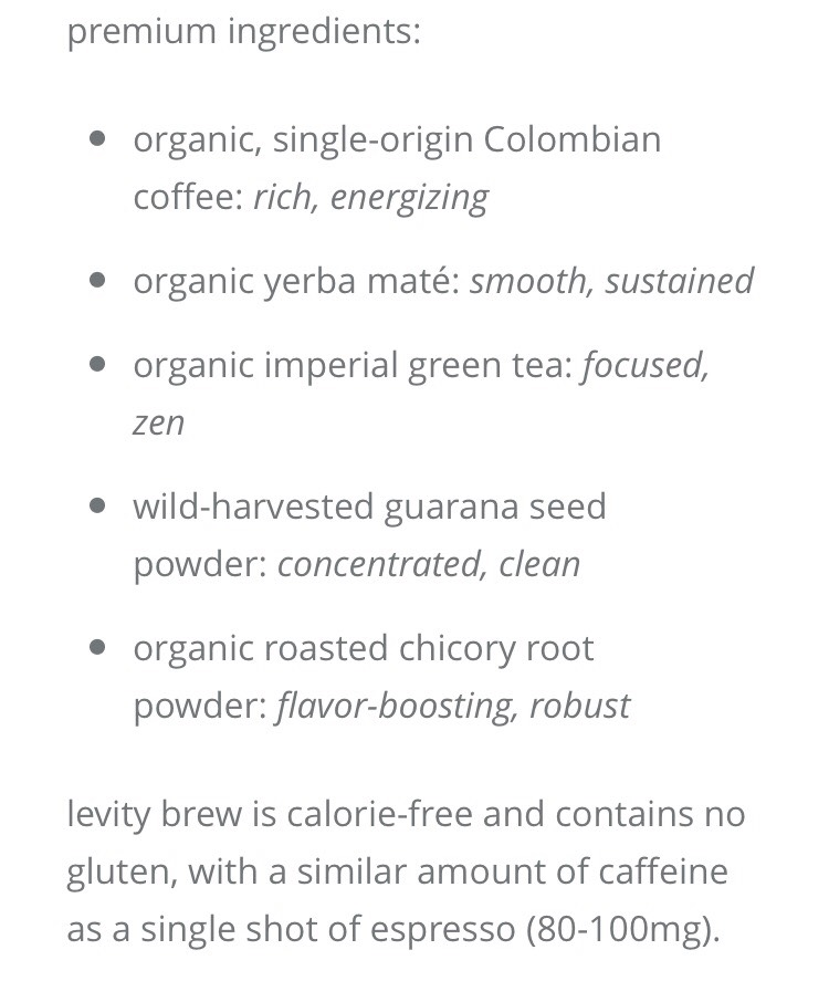 Levity brew gives you both wonderfulbenefits of coffee and tea 😱.. The have high quality coffee and tea all in one drink. How amazing is that😍.  You can purchase this product right here on my tip starting next page.😎