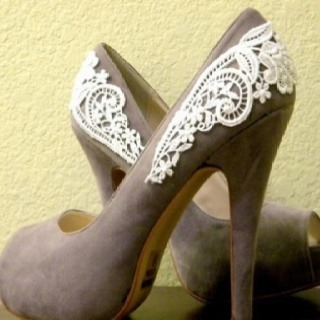 Add Lace to the back of an old pair of shoes using glue for a Re-Vamp. Give it a shot!