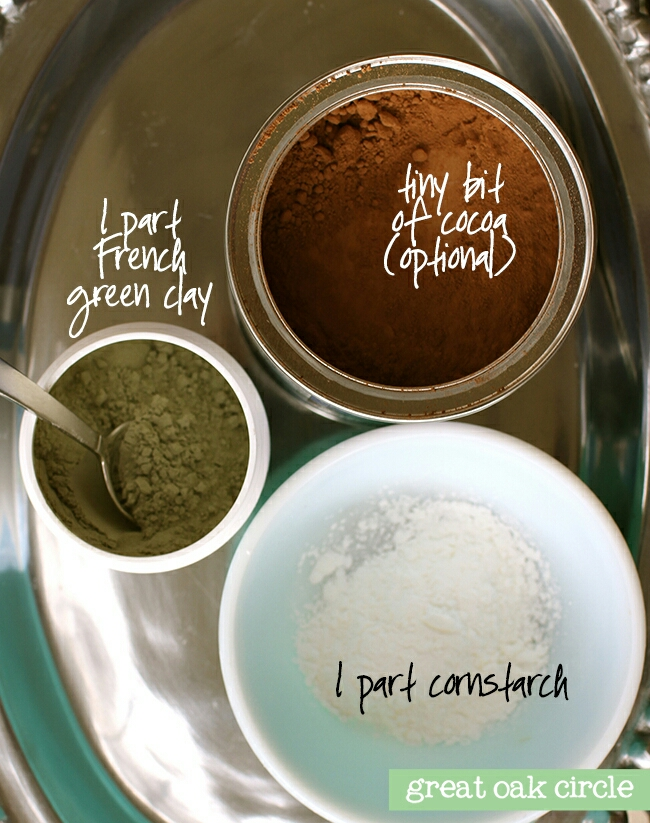 In a small bowl combine 1 part cornstarch, 1 part green clay and a bit of cocoa.  1 part in a 1 to 1 recipe depends on how much you are making. If you want a gallon, each part would be 2 quarts. If you want 1 cup, each part would be half a cup.