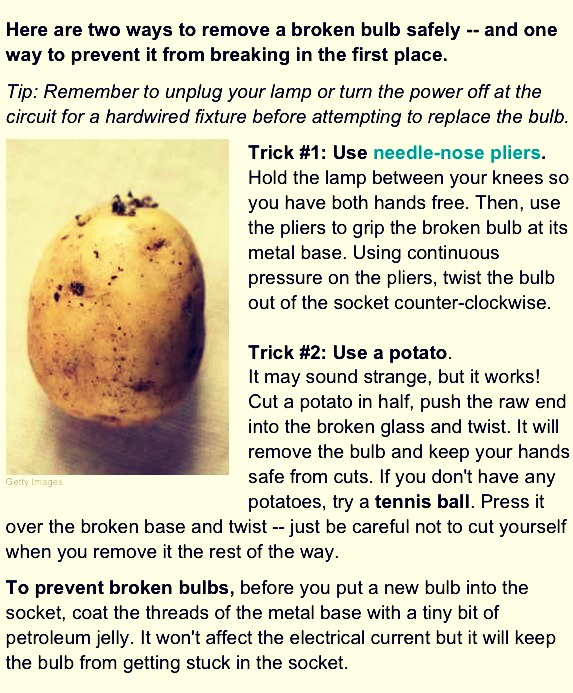 You Can Remove A Broken Light Bulb With A Potato by M a r ...
