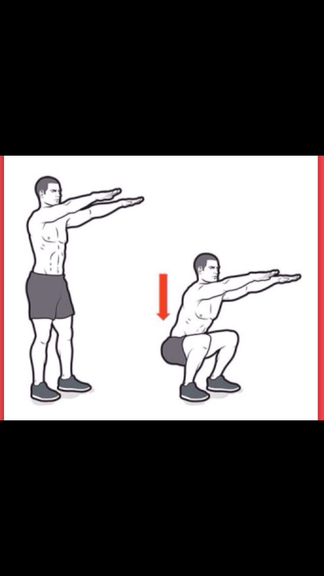 Two sets of 10 squats