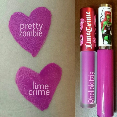 Pretty Zombie Cosmetics Purple Poison vs Lime Crime Utopia. These two colors are nearly identical. The PZ liquid lipsticks have super cute packaging and are just great all around!