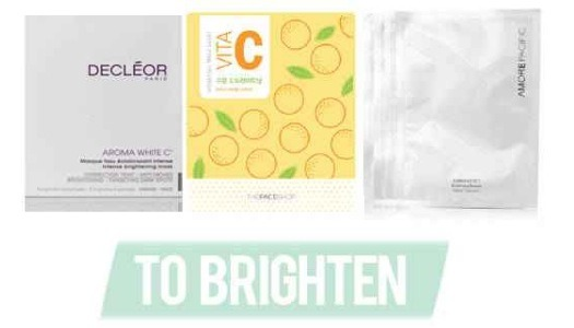 TO BRIGHTEN: You know when your skin is looking (and feeling) dull and tired? Sheet masks with skin brightening properties are a quick fix to this all too often complexion woe. Look for masks that contain vitamin C, usually in the form of citrus extracts.