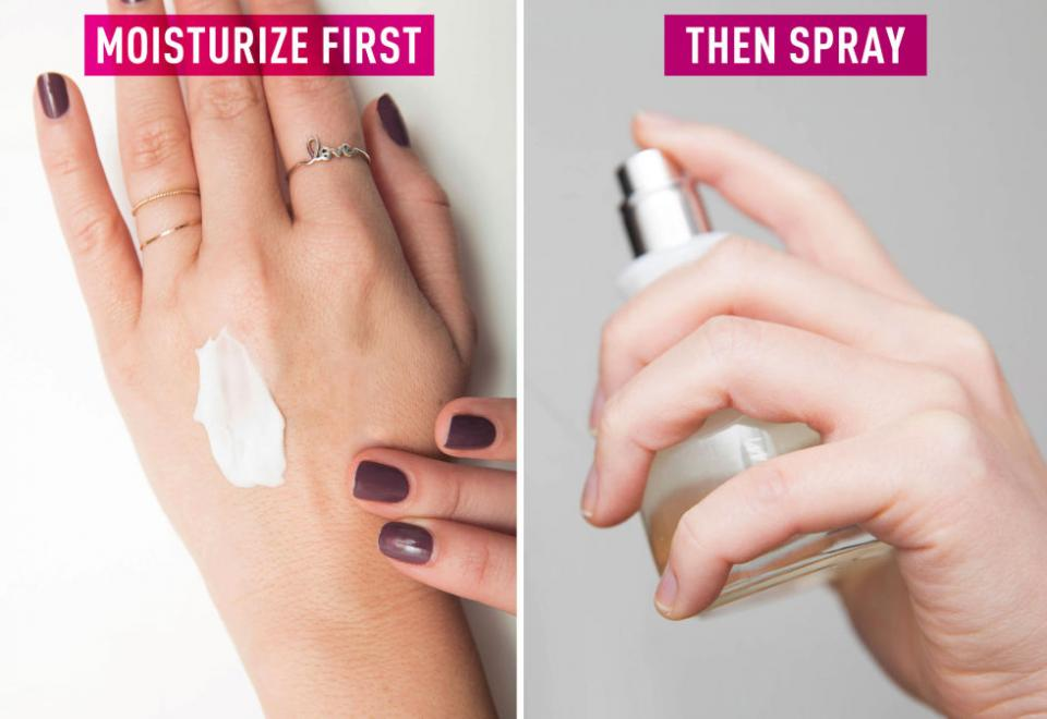 3. Apply an unscented lotion before your fragrance. Oily complexions retain fragrances longer, so if you have dry skin, use a moisturizer first to help lock in the scent.