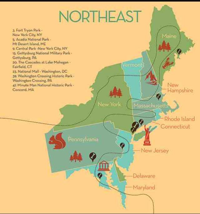 The northeast really has its own character, so take your time hitting the big landmarks in DC and NYC, then head all the way to Maine and get lost upstate.
