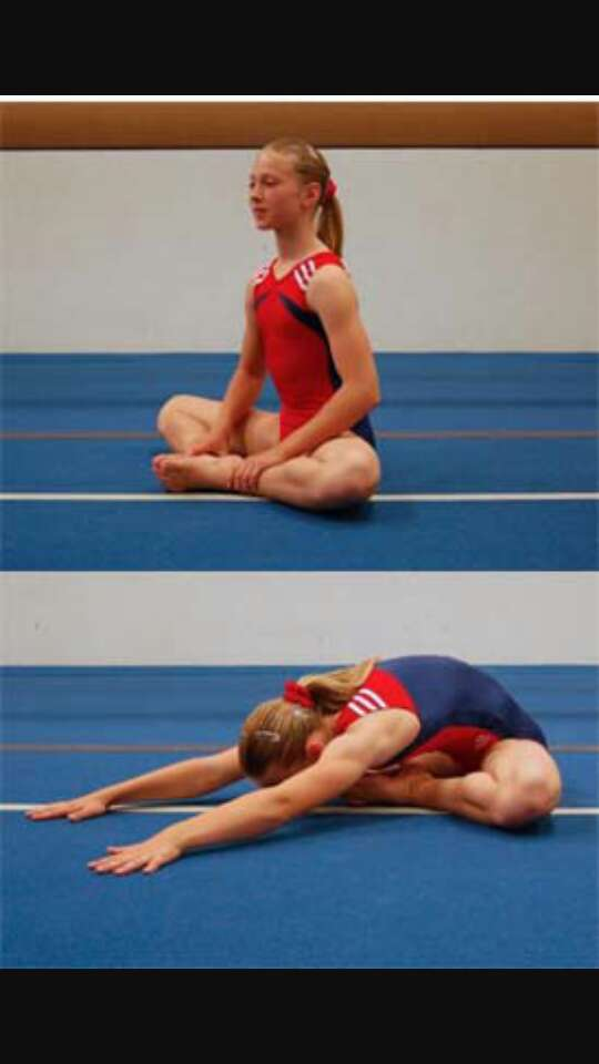 Butterfly.  you can push your knees into the floor using your hands or elbows.