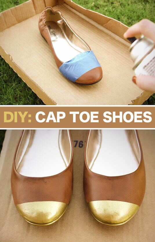 12. Make Cap Toe Shoes The only thing I'd do different is use newspaper or something under the tape to cover up the rest of the shoe in case of over spray.