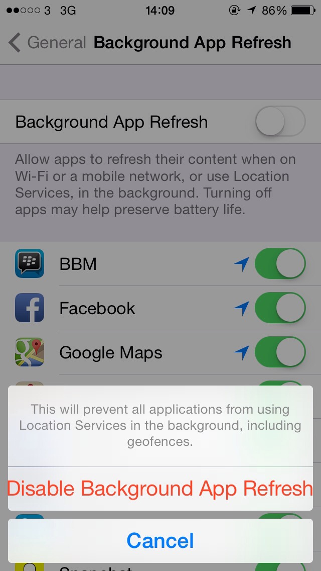 Turn off background app refresh as this lets apps drain your battery even in the background.