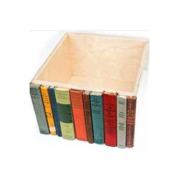 Old book spines glued to a box for a secret shelf