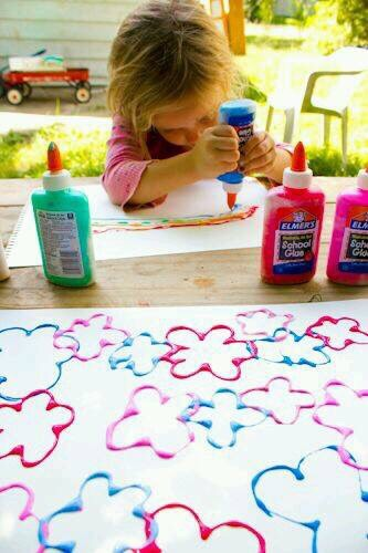 Filling old glue bottles with paint makes for easy, no mess painting