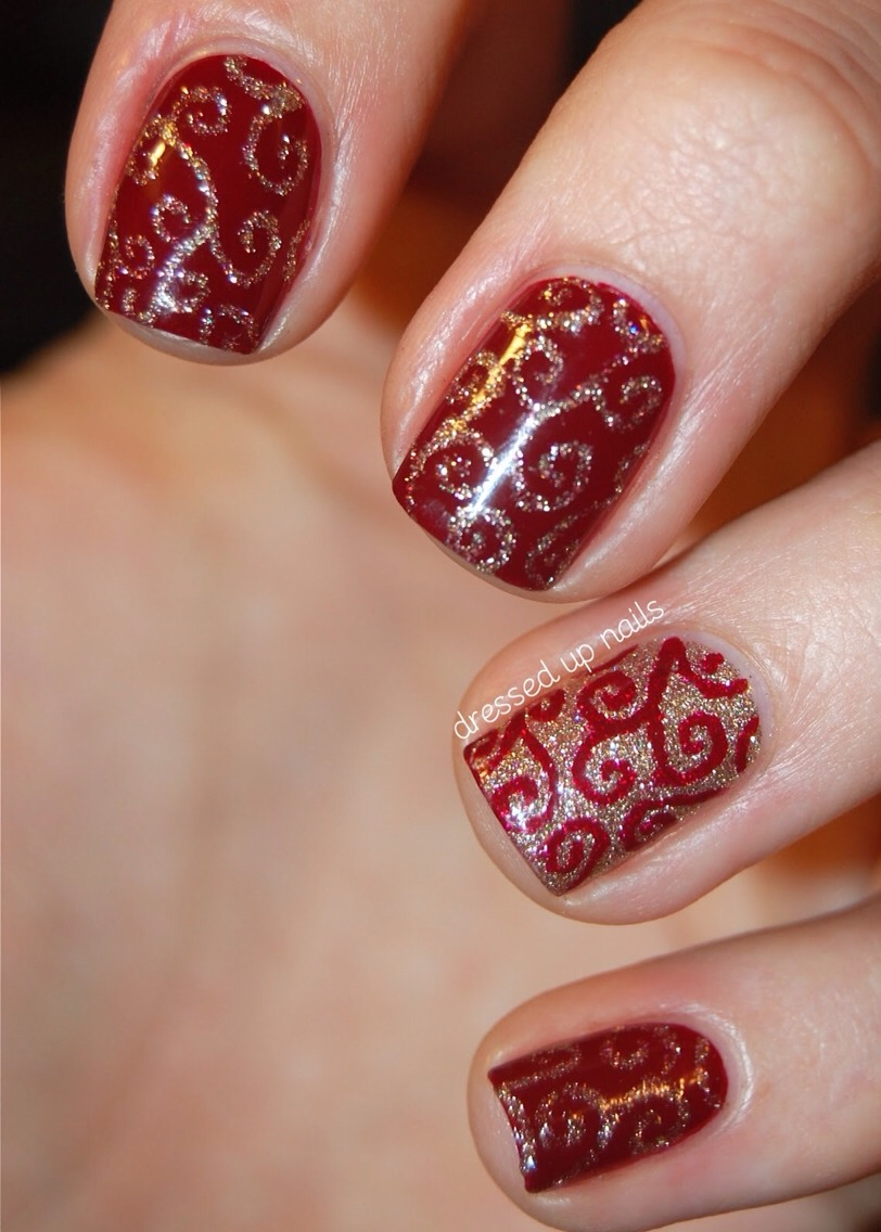 Red/gold swirls for the holiday season!