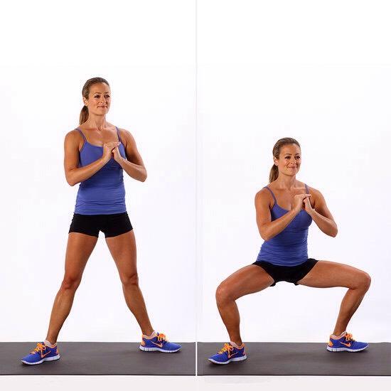 20 sumo squats/pile squats