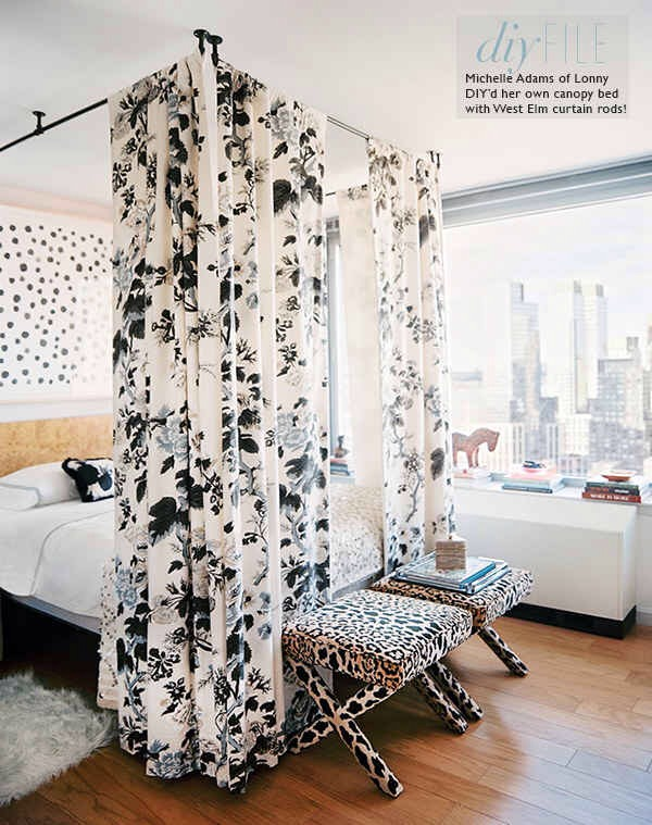 18. Hang curtain rods to create a makeshift canopy bed.