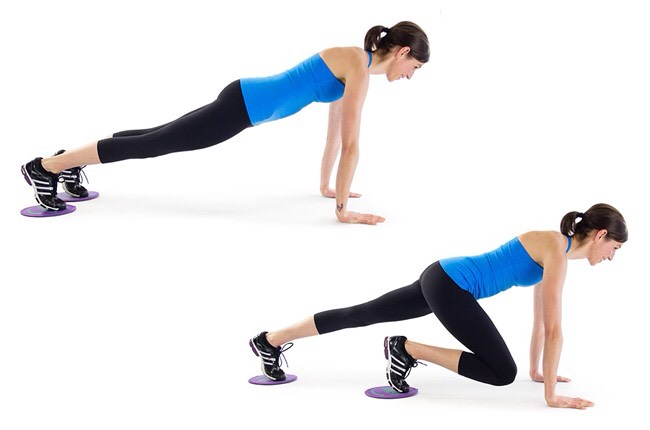3. Plank Skiswith Sliding Discs:This waist-whittling strength training move will cinch the waistline and strengthen the core, helping to create that hourglass figure.Don't have sliding discs? Try paper plates, frisbees or even a dish towel.Dothis move for one minute,many reps as possible.
