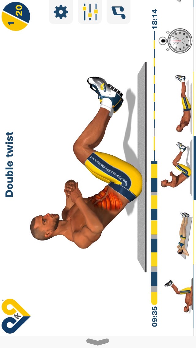 double twist, sit on your booty and sit almost upright, then twist your upper body to one side and try to touch the ground; 20 reps.