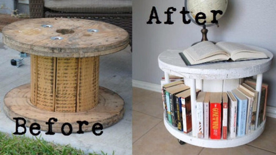 This is a nice cheap idea turning a Cable spool into a bookcase/coffee table