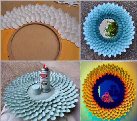 Break off the sticks of the plastics spoons, and get creative! Make mirrors , wall decor etc!