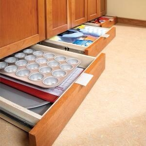 Drawers Instead of Baseboards  Create storage space where your baseboards used to be. I LOVE this idea so much it hurts.